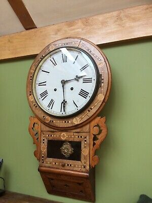 Beautifully inlaid chiming wall clock full working order with winding key