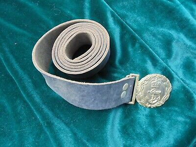 Vintage British Naval Officers Belt and Brass Buckle (FREE SHIPPING)