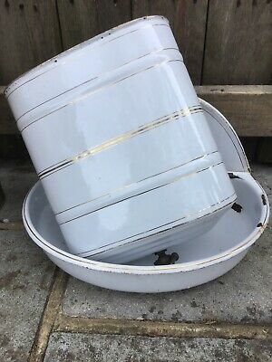 Vintage French Enamel Lavabo, Wall Water Tank Wash Basin Sink Brass Tap
