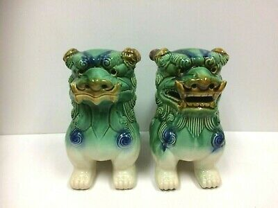 Large Vintage Pair of Chinese Ceramic Kylin Lions Foo Dogs Dragons