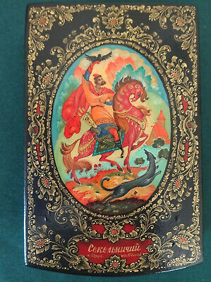 Russian Lacquer Box Kholui Signed, Prince Igor Hunting Falcon, Hand Painted OLD