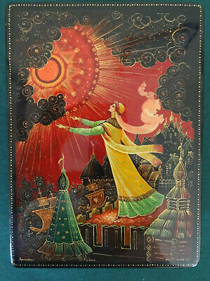 Russian Lacquer Box Kholui Signed, Woman wtih Red Sun on Rooftop, Hand Painted