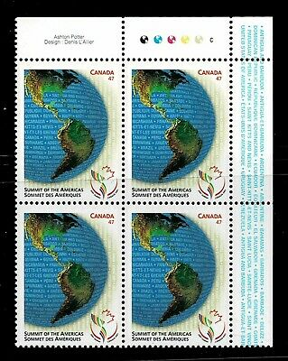 Canada - ML#849 - Summit of the Americas, UR Pl Block Scott #'s 1902 MNH