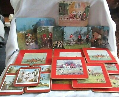 13 Vintage Hunting Place mats & Wild Duck Coasters Mixed Job Lot Some Pimpernel