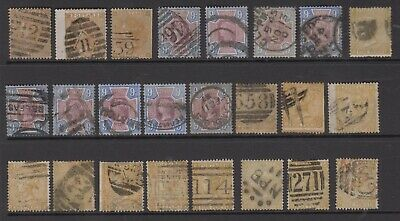 GB QV 9d stamps, a specialised study of used shades & postmarks, high Cat Value
