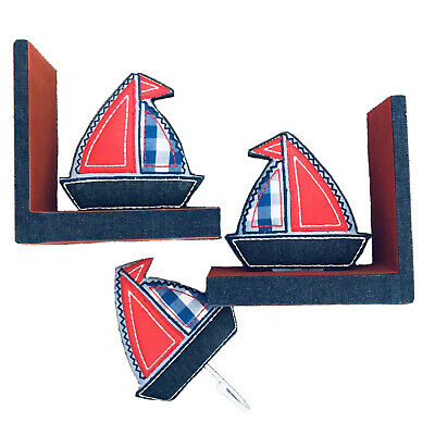 Padded Sailboat Set! Bookends & Matching Hook
