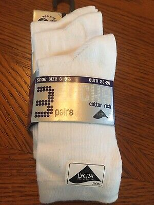 Bnwt 6-8.5 White Ankle Socks Unisex Boys And Girls Cotton Rich 2-3 Years Lycra