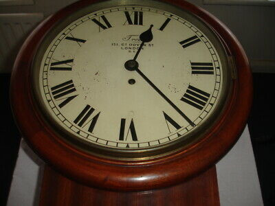 Antique Fusee Chain Drive Drop Dial Wall Clock Byjames Tree  Stamped R H L - Co