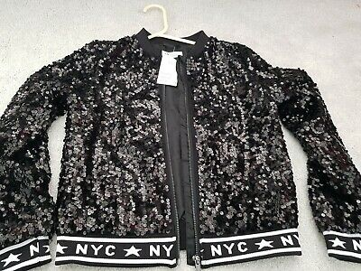 H&M Girls Sequin Black Jacket Size 10-12 Years New