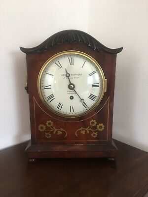 English  Fusee Bracket Clock Serpentine Top William 1V, 8Day Fusee Mantel Clock