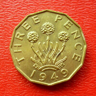 Scarce King George Vi Brass 1949 Threepence High Good Collectable Grade