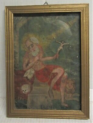 Antique Mexican Retablo Folk Art Painting  on Tin --  San Geronimo - 7x10
