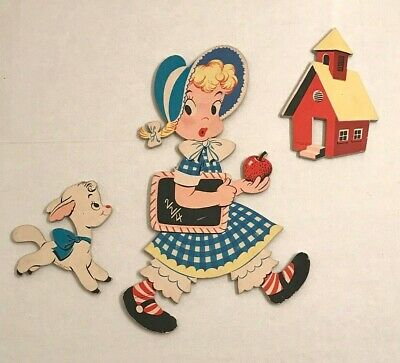 Vintage baby nursery decor Mary Little Lamb Mother Goose pin ups