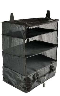 Stow N Go Portable Luggage System Suitcase Organizer LARGE BLACK Packable Hangin
