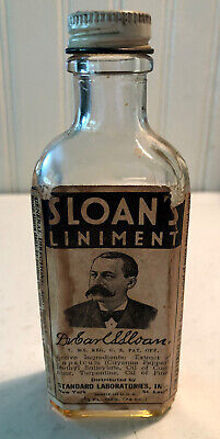 "Vintage Advertising Bottle Of Sloan's Liniment w PAPER LABEL Cap Old 6oz 7"" Tall"