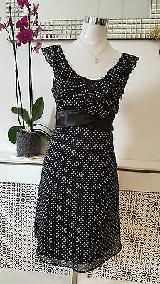 Next Black White Polka Dot Chiffon Frilly Ladies Tea Dress Size 10 Petite