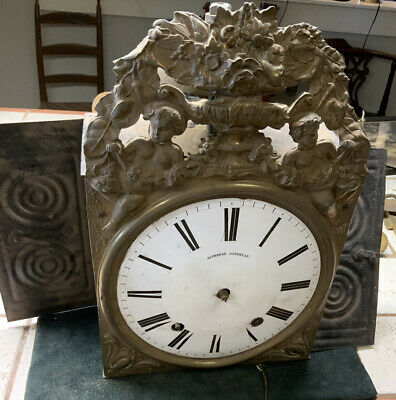 Antique French Morbier Clock Parts or Repair Signed Face Alphonse Gindreau