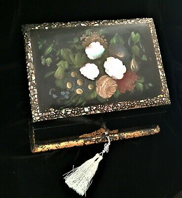 Victorian papier mache stationery box hand-painted with mother of pearl inlay