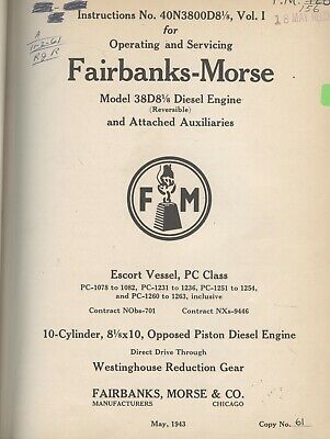 1943 Vintage Fairbanks-Morse 38D8 1/8 reversable Diesel Engine Manual US NAVY