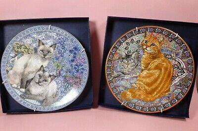 2 Royal Worcester Purrfect Friends Cat Decorative Plates - Boxed