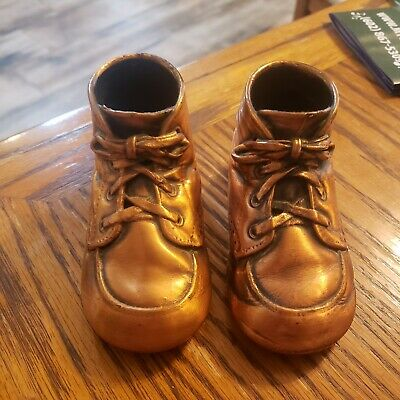 Vintage Bronze Dipped Lace Up High Top Baby Shoes 1950-1960's art deco