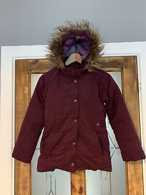 Fat Face Purple Parka Hooded Coat Jacket Girls 10-11yrs Full Zip Padded