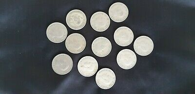 Collection of 12 George VI Half Crown coins 1930s, 40s and 1950