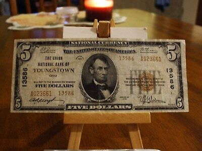 1929 $5 Nbn From The Union National Bank Of Youngstown Ohio, V/F+ Condition