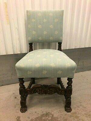 Magnificent Antique Ornate Silk Seated Cromwellian Chair with Barley Twist Legs