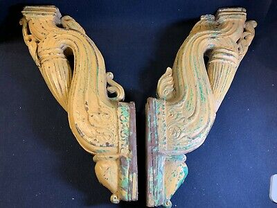 Antique Pair of Large Solid Carved Wooden Distressed Architectural Wall Brackets