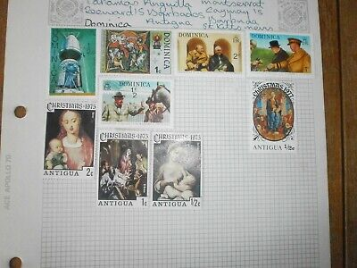 Sheet of 9 Dominica+Antigua Stamps