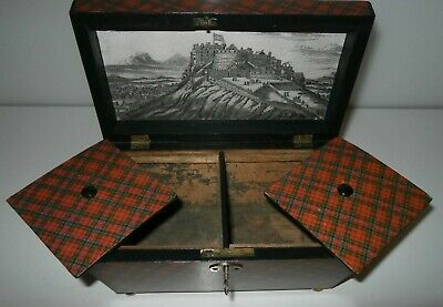 Original Antique Stuart Clan Tartan Ware Tea Caddy With Edinburgh Castle Scene