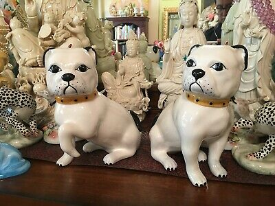 Pair of Large White Pug Figurines Hand Painted Made in Italy