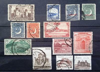 PAKISTAN - 1948, 1949 - Collection of 13 USED stamps