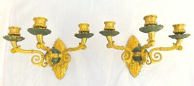 Antique 2x French Empire Pair Sconce Triple RARE Candlesticks Gilded Bronze 19TH