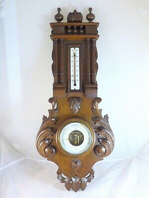 "Antique French Black Forest Carved 29"" Barometer & Thermometer Only for Deco"