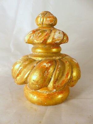 French Antique Architectural Hand Carved Wood Gilded Stairwell Finial Staircase