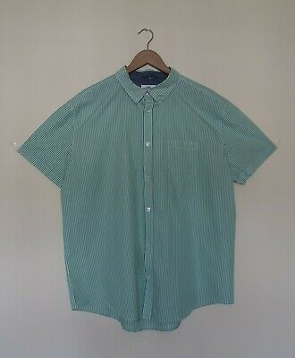Next Mens Striped Short Sleeves  White Green Shirt Size 2Xl