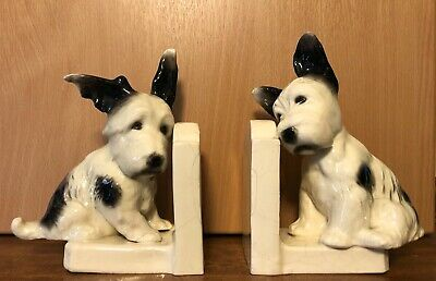 ANTIQUE PAIR OF SITZENDORF DOG BOOKENDS. No. 30279. EXTREMELY RARE.