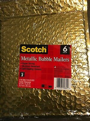 (30 lot) 3M Foil Gold Metallic Bubble Mailers Padded Envelope Bags 8.5 x 11 #2