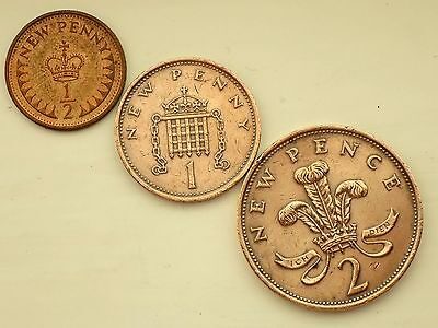 1980-1/2 Half NEW Penny(LUSTRED) ,1980 -One NEW Penny,1980- Two NEW Pence Coins