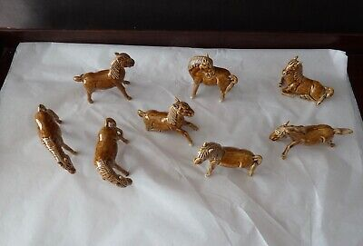 8 x Chinese Tang Style Horse Figurines Ceramic Glazed h 7,5cm