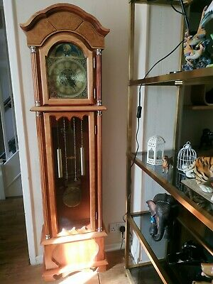 Grandfather Floor Clock Roman Tall Antique pine Traditional Wooden Longcase