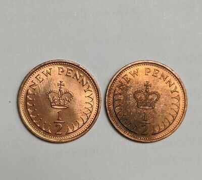 1974 Elizabeth II Decimal 1/2p New Penny Halfpenny 2coins in lot in uncirculated