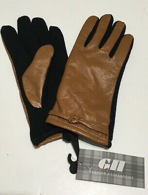 GH Fashion Leather Ladies Driving Gloves Wool Size Large Fleece Lined NWT Brown