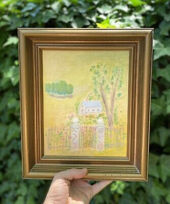 Vtg Small Framed Oil Pastel on Canvas Impressionist Art French Country Farmhouse