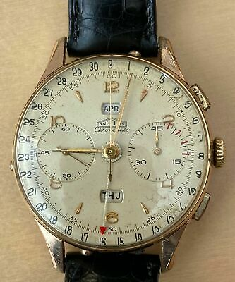 Vintage 1940's ANGELUS Chronodato Triple Date Chronograph Running Perfectly