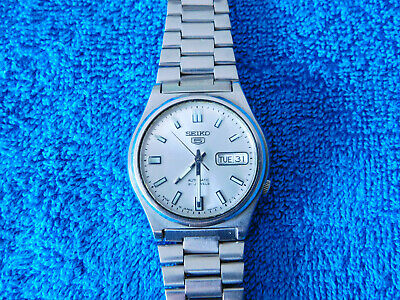 Vintage Seiko 5 Automatic Silver Dial 7S26-0360 Day Date Stainless Wrist Watch