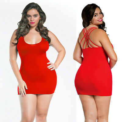 Queen One Size Sexy Red Strappy Detail Lingerie Chemise Mini Dress R157