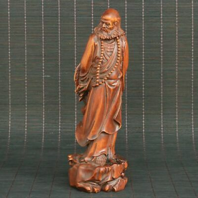 Chinese Natural Boxwood Hand-carved Arhat Buddhism Statue